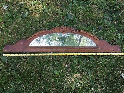 "Depression 30.5"" Carved Wood Pediment Backsplash Etched Mirror Bakelite Salvage"