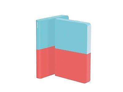 "CLOSEOUT - Nuuna DIPPED 5.3x8"" 176 Dot Grid Page Notebook. NEW Turquoise/Red"