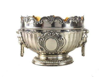 Silverplate Scallop Rimmed Footed Bowl, 19th Century. Lion Head Handles
