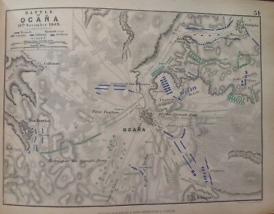 Battle Of Ocana, 1809, Antique Map, A K Johnston Rare M2