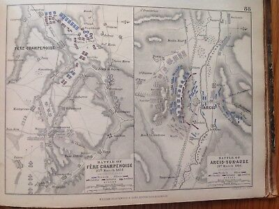 Battle Of Fere Champenoise, 1814, Antique Map, A K Johnston Rare M2
