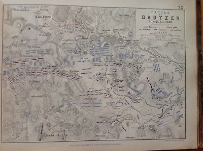 Battle Of Bautzen, 1813, Antique Map, A K Johnston Rare M2