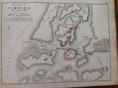 Battle Of Vimeira, 1808, Antique Map, A K Johnston Rare M2