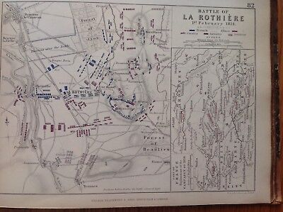 Battle Of La Rothiere, 1814, Antique Map, A K Johnston Rare M2