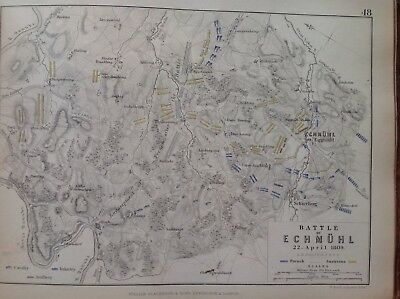 Battle Of Echmuhl, 1809, Antique Map, A K Johnston Rare M2