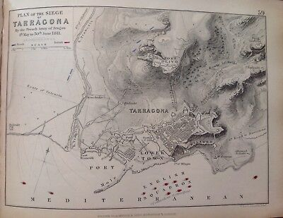 Plan Of The Siege Tarragona, 1811, Antique Map, A K Johnston Rare M2