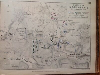 Battle Of Montmirail, 1814, Antique Map, A K Johnston Rare M2