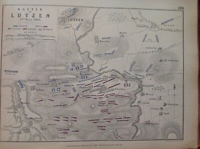 Battle Of Lutzen, 1813, Antique Map, A K Johnston Rare M2