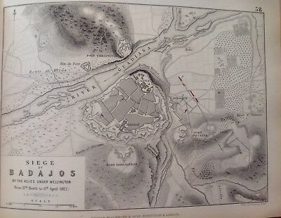 Siege Of Badajos, 1812, Antique Map, A K Johnston Rare M2