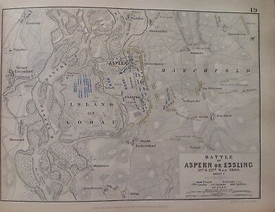 Battle Of Aspern Or Essling, 1809, Antique Map, A K Johnston Rare M2