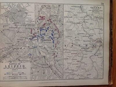 Battle Of Leipzig, Saxony, 1813, Antique Map, A K Johnston Rare M2