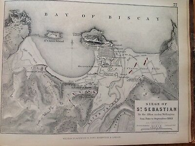 Siege Of St Sebastian, 1813, Antique Map, A K Johnston Rare M2
