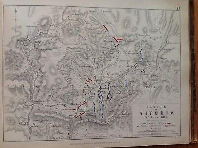 Battle Of Vitoria, 1813, Antique Map, A K Johnston Rare M2