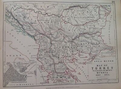 Map Of Turkey, 1807 To 1812, Antique Map, A K Johnston Rare M2