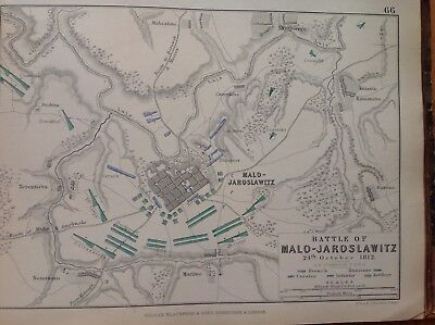 Battle Of Malo-jaroslawitz, 1812, Antique Map, A K Johnston Rare M2