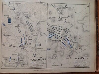 Battle, Cross Beeren, Dennewitz, 1813, Antique Map, A K Johnston Rare M2