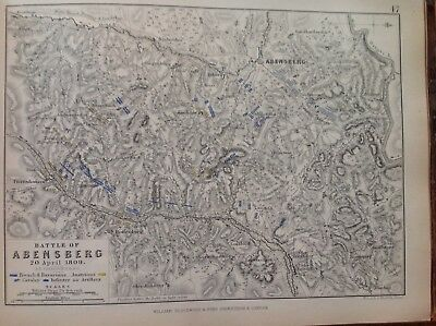 Battle of Abensberg, 1809, Antique Map, A K Johnston Rare M2