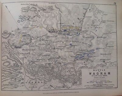 Battle Of Wagram, 1809, Antique Map, A K Johnston Rare M2