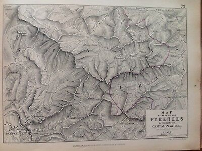 Map Of Part Of The Pyrenees, 1813, Antique Map, A K Johnston Rare M2