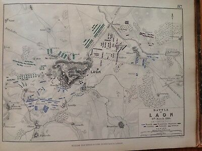 Battle Of Laon, 1814, Antique Map, A K Johnston Rare M2