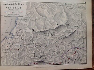 Nivelle, French Entrenched Position, 1813, Antique Map, A K Johnston Rare M2