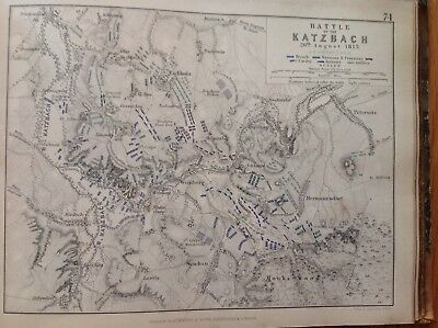 Battle Of Katzbach, 1813, Antique Map, A K Johnston Rare M2