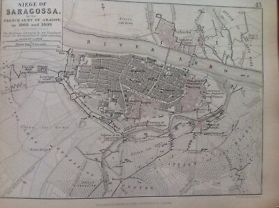 Siege Of Saragossa, 1808 To 1809Antique Map, A K Johnston Rare M2