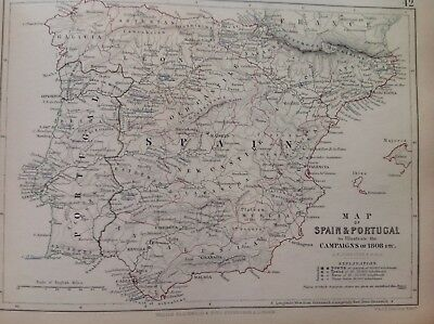 Spain, Portugal, 1808, Antique Map, A K Johnston Rare M2