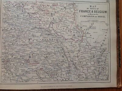 France, Belgium, Campaigns, 1814 To 1815, Antique Map, A K Johnston Rare M2