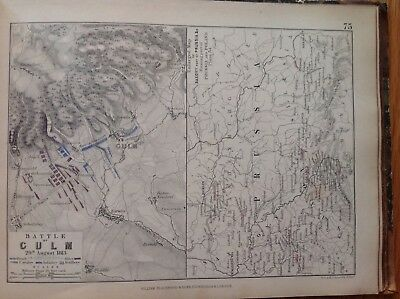 Battle Of Culm, 1813, Antique Map, A K Johnston Rare M2