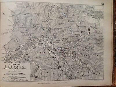Battle Of Leipzig, 1813, Antique Map, A K Johnston Rare M2
