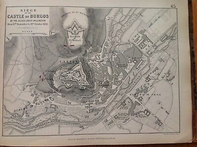 Siege Of Castle Of Burgos, 1812, Antique Map, A K Johnston Rare M2