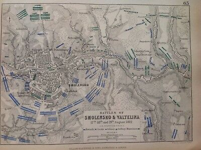 Battle Of Smolensko & Valtelina, 1812, Antique Map, A K Johnston Rare M2