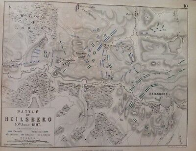 Heilsberg, 1807, Antique Map, A K Johnston Rare M2