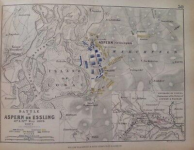 Battle Of Aspern Or Essling, Vienna, 1809, Antique Map, A K Johnston Rare M2