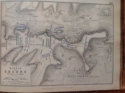 Battle Of Craone, 1814, Antique Map, A K Johnston Rare M2