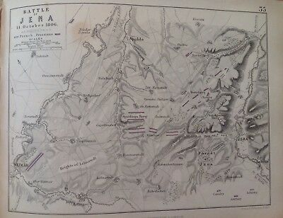 Battle Of Jena, 1806, Antique Map, A K Johnston Rare M2