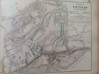 Battle Of Pultusk, 1806, Antique Map, A K Johnston Rare M2