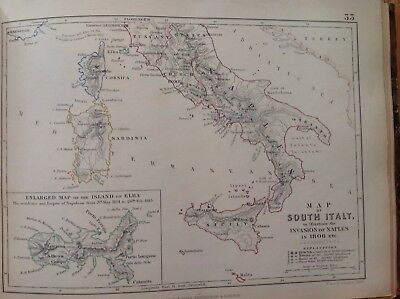 South Italy, Invasion Of Naples, 1806, Antique Map, A K Johnston Rare M2