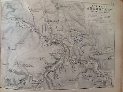 Battle Of Auerstadt, 1806, Antique Map, A K Johnston Rare M2