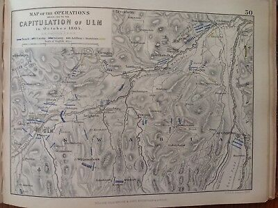 Capitulation Of ULM, 1805, Antique Map, A K Johnston Rare M2