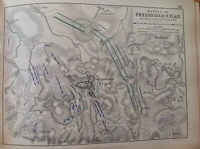 Battle Of Preussisch-eylau, 1807, Antique Map, A K Johnston Rare M2