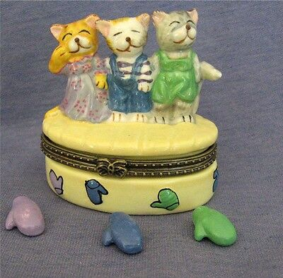 Porcelain Trinket Box - 3 Little Kittens Lost Their Mittens, Hinged