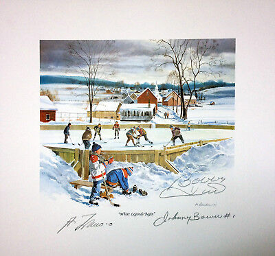 Where Legends Begin Lithograph - Signed by Bower, Hull, and Lafleur
