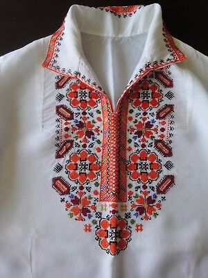 Beautiful Authentic Vintage Hand-Embroidered Natural Silk Blouse Shirt
