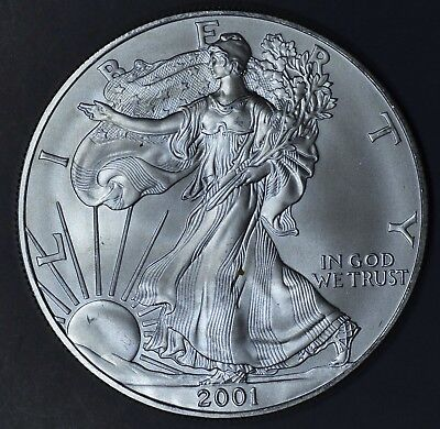 2001 1 oz AMERICAN SILVER EAGLE BRILLIANT UNCIRCULATED ASE  SKU2001B