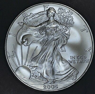 2005 1 oz AMERICAN SILVER EAGLE BRILLIANT UNCIRCULATED ASE  SKU2005B