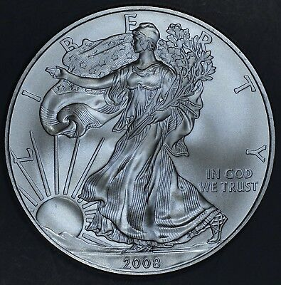 2008 1 oz AMERICAN SILVER EAGLE BRILLIANT UNCIRCULATED ASE  SKU2008B