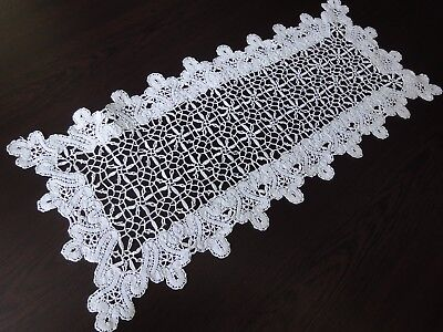 Vintage Handmade with Unique Technique Brussels Lace Cotton Table Runner
