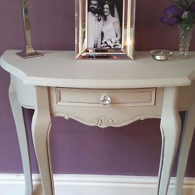 Grey French Style Half Moon Table Wooden Hall Side Table